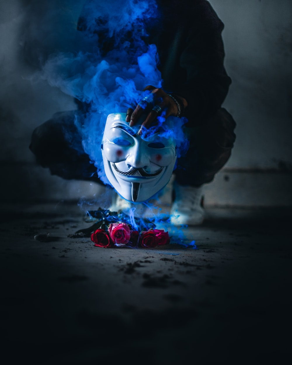 person holding Guy Fawkes mask above smoking red roses