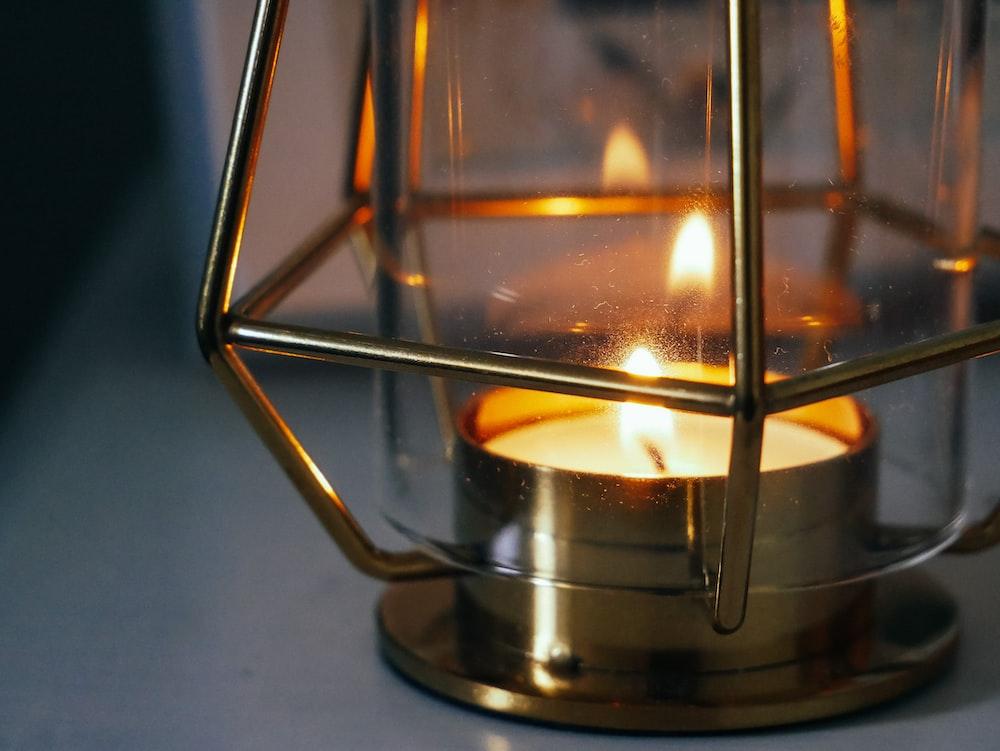 brown lantern lamp