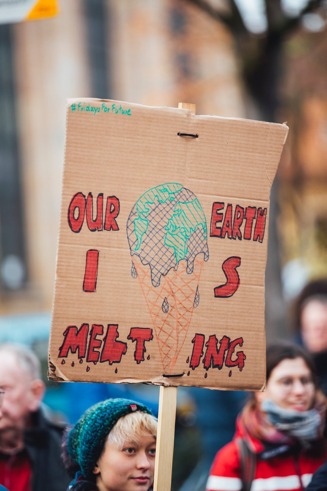 OUR EARTH IS MELTING –climate protest demonstration strike fridays for future