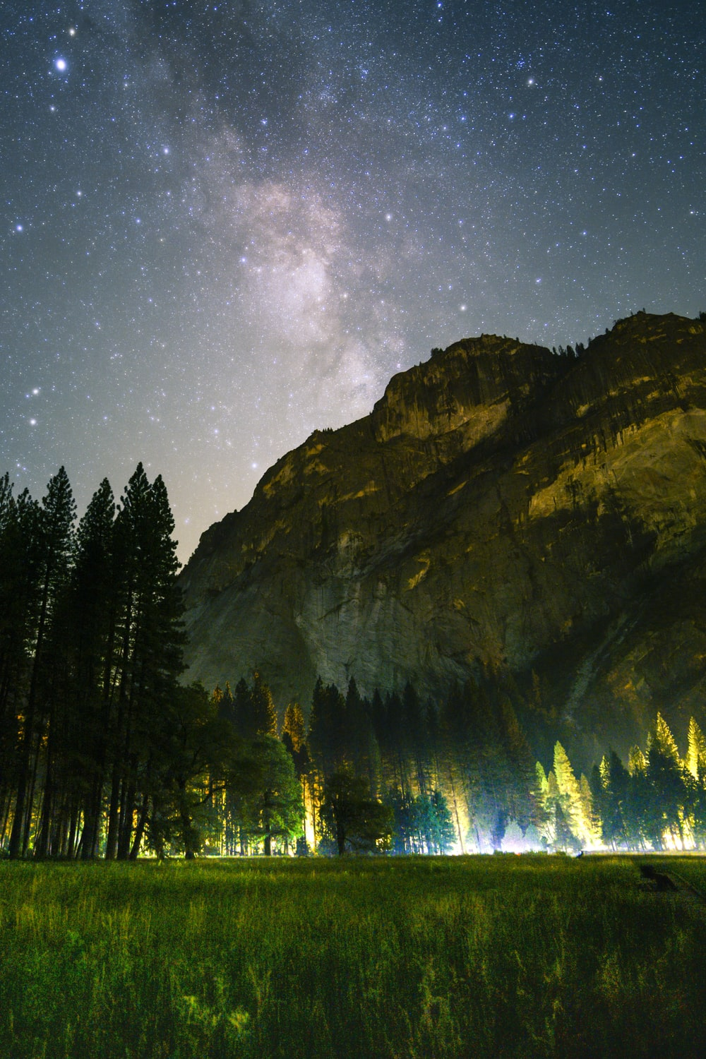 green grass field and tall trees in front of mountain under the galaxy