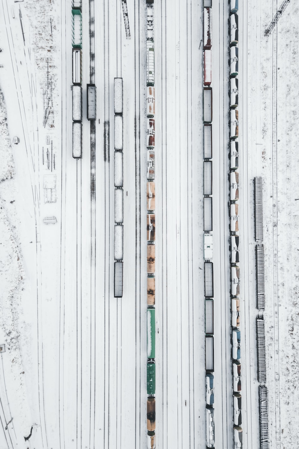 aerial photography of of train during snow