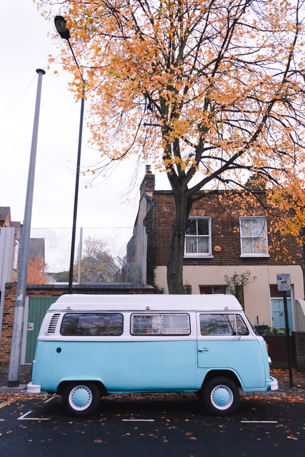 whiet and blue van