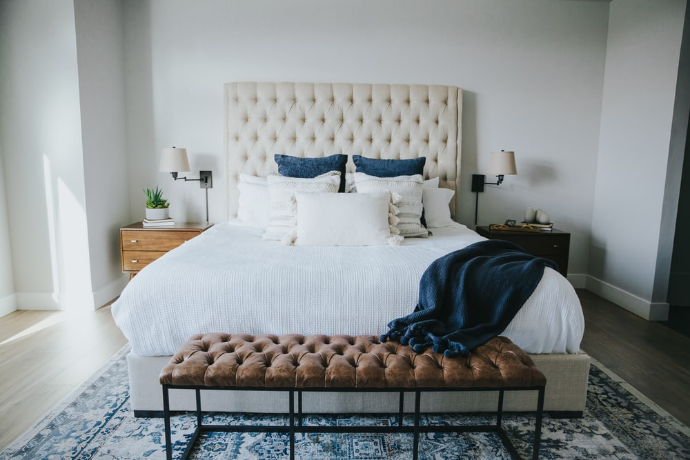 tufted brown sofa