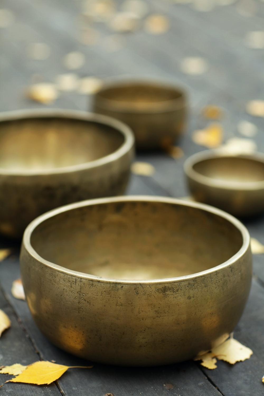 brown round bowl on white table