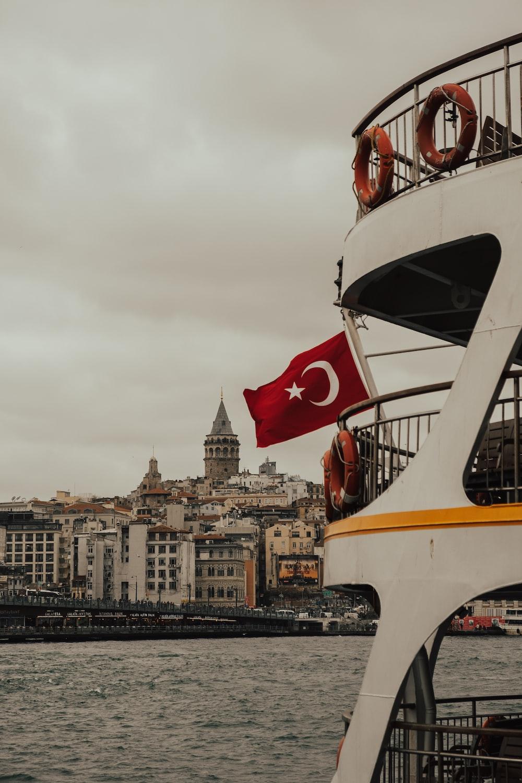 flag of Turkey on boat