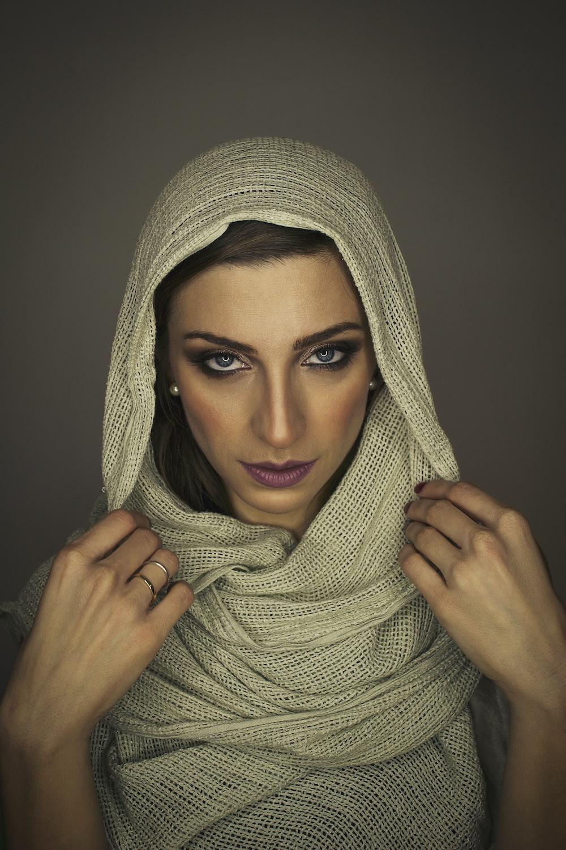 women's beige scarf