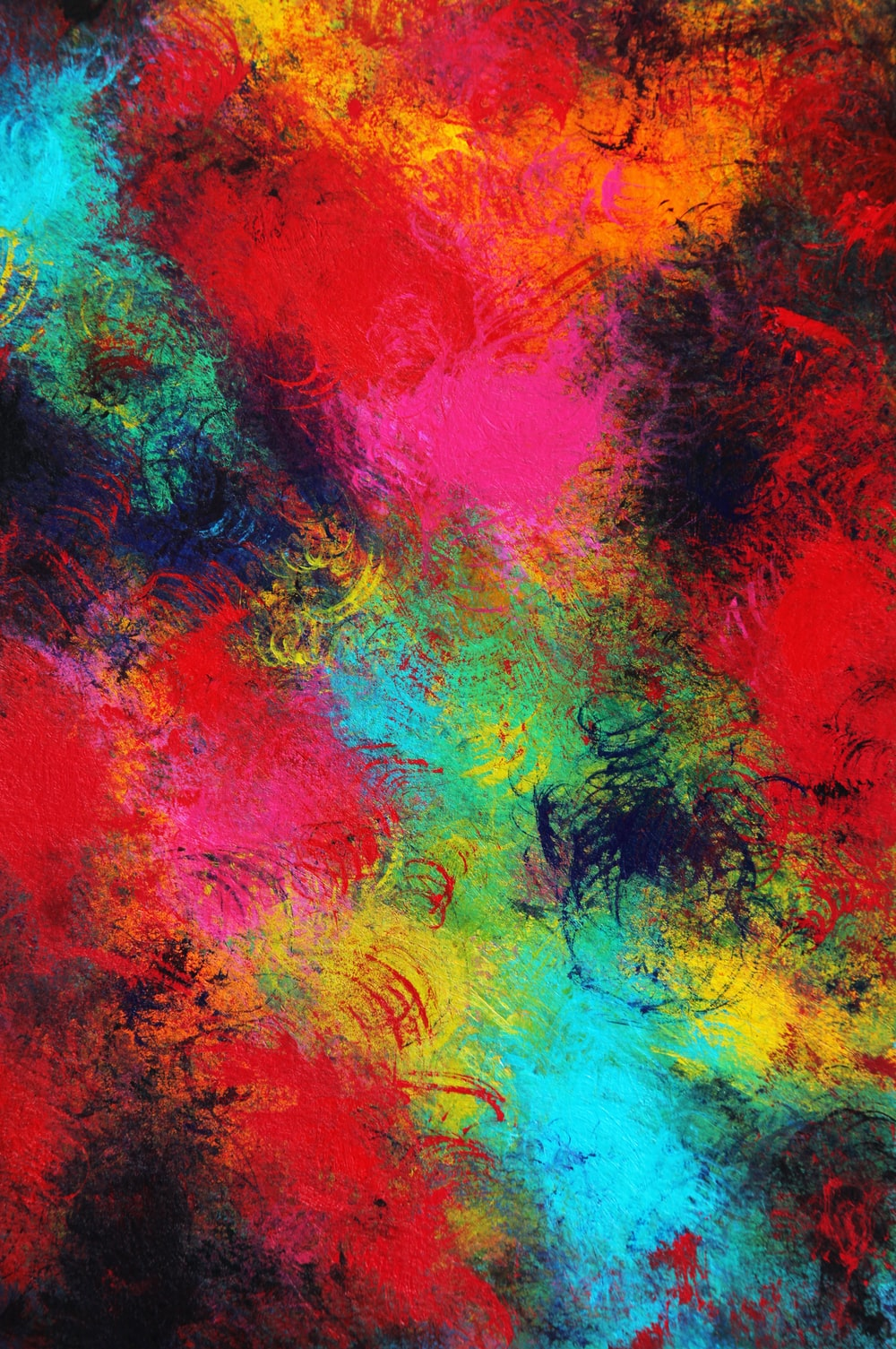 red yellow and blue abstract painting