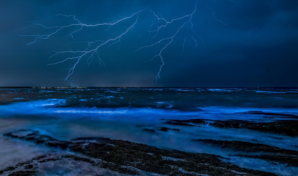 body of water under storm