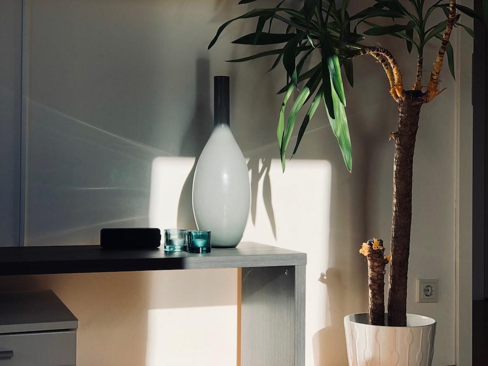 white ceramic vase on white wooden table