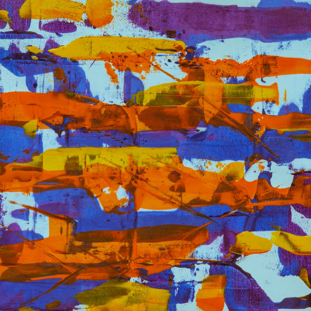 blue white and brown abstract painting