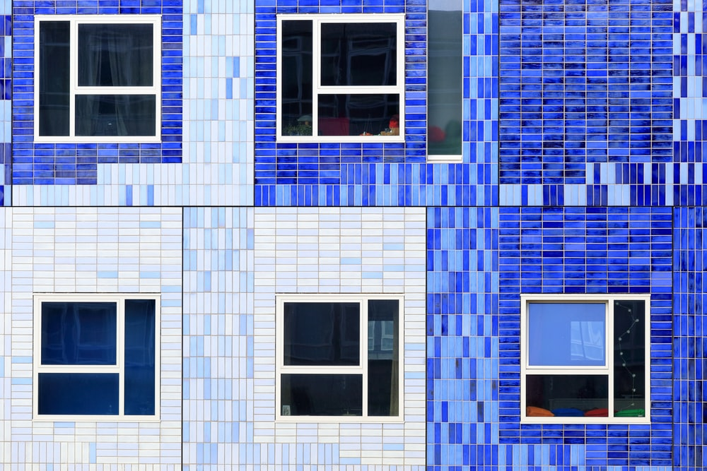 blue and white concrete building