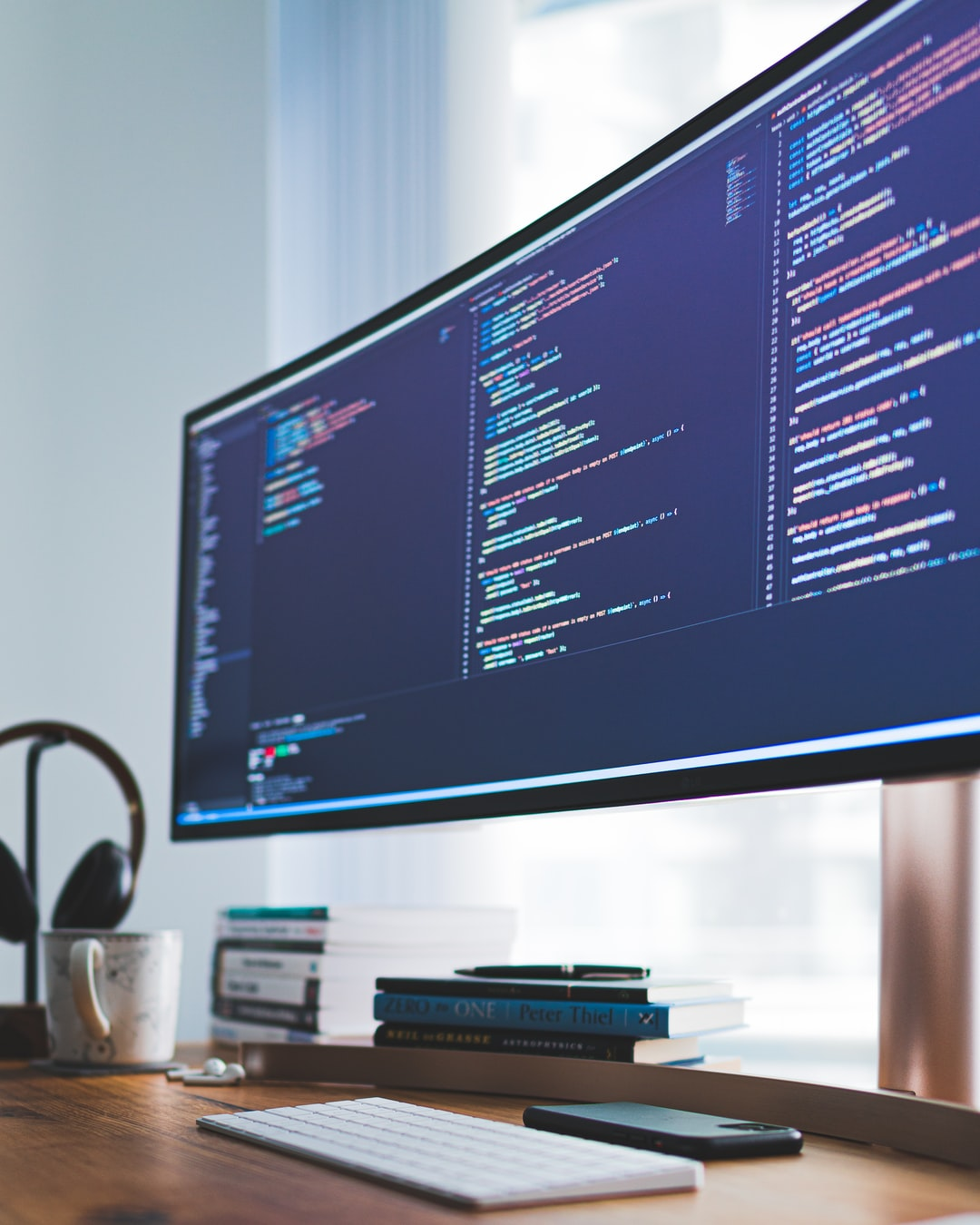 Desktop screen with code for software development