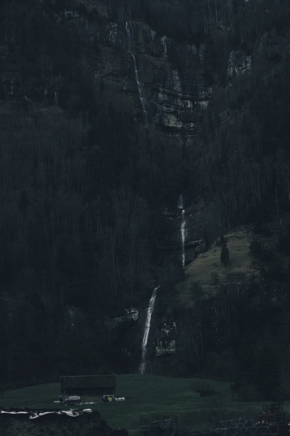 water falls in the middle of forest