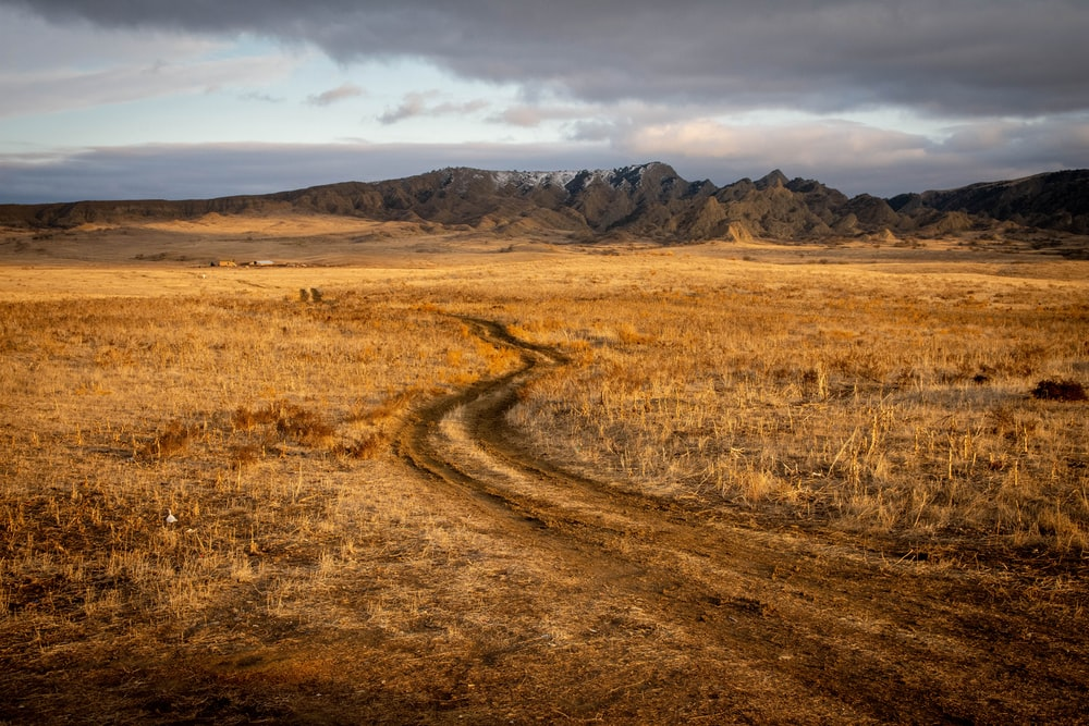 brown grass field near brown mountain under white clouds during daytime