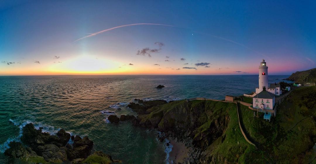 Winter sunrise over Start Point Lighthouse, Devon, UK