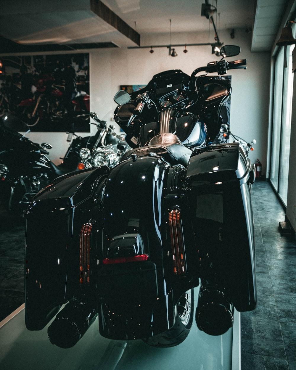 black motorcycle in a room