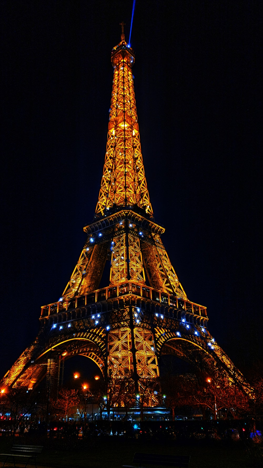eiffel tower with lights during night time