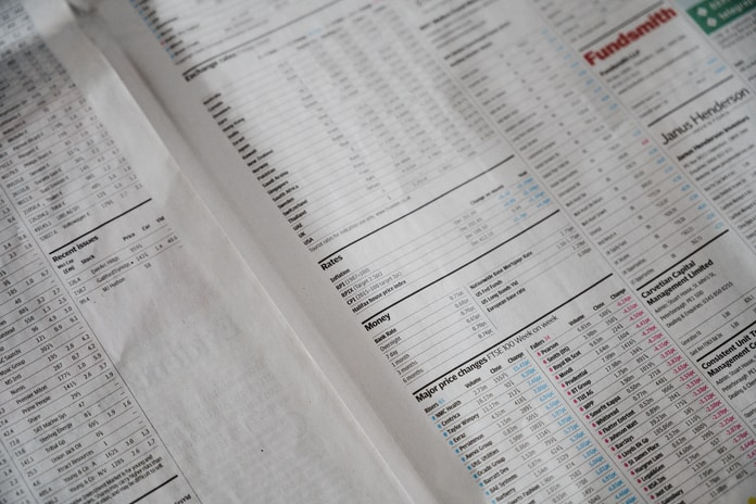 Finance section of a newspaper