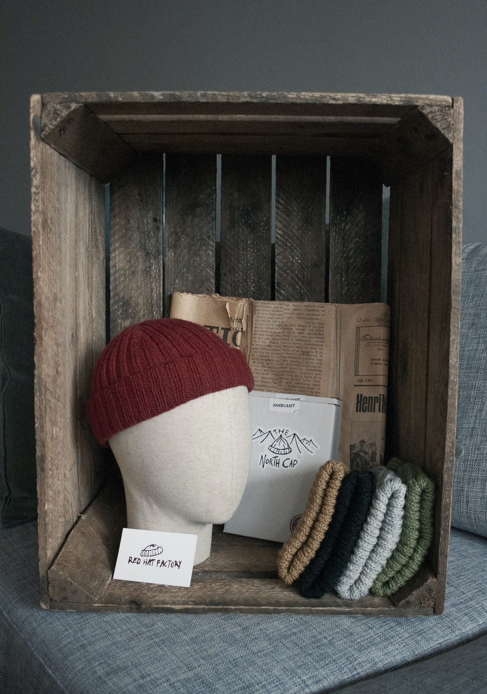 white and red knit cap