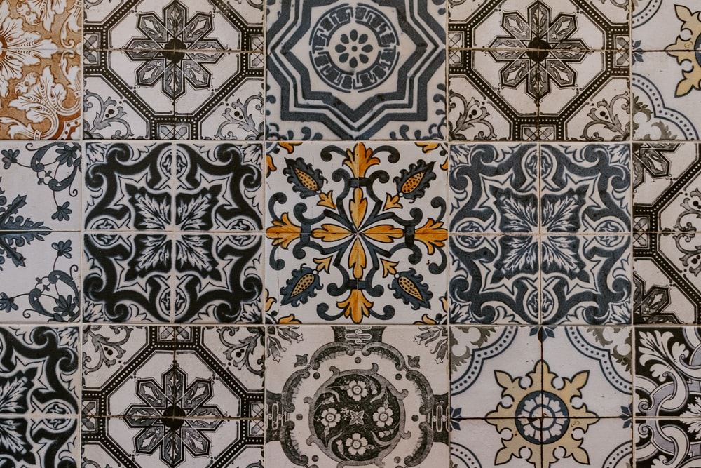 white blue and brown textile