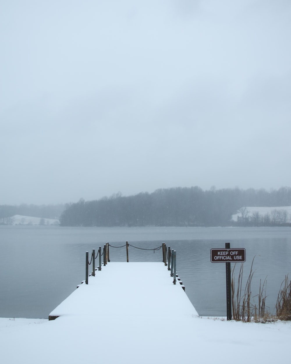 white snow covered dock near body of water