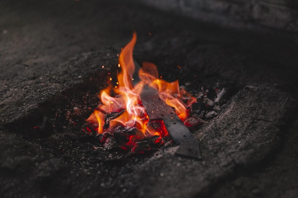 burning fire on black soil