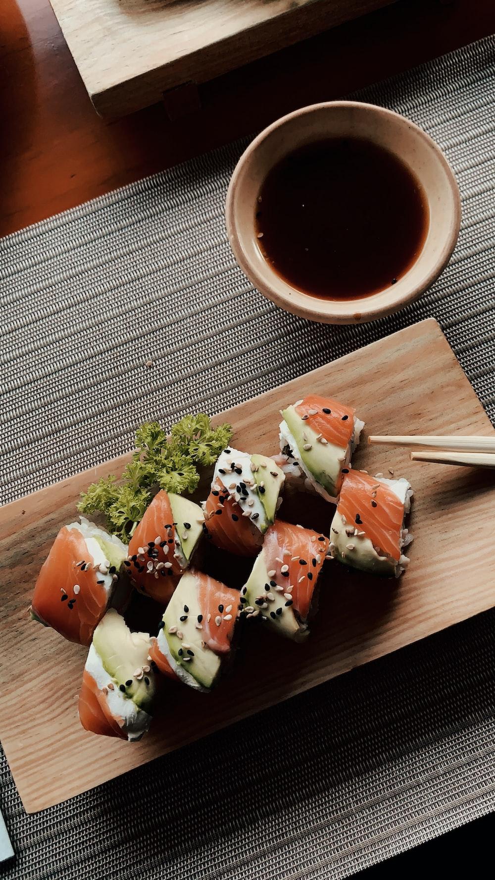 sushi on white ceramic plate