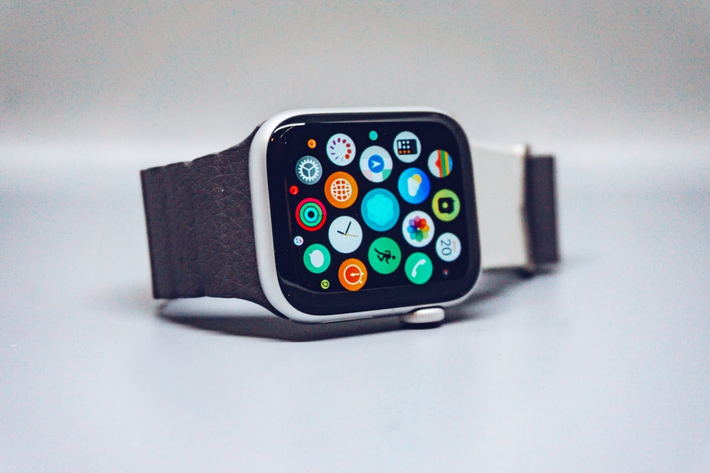 black smart watch with black strap
