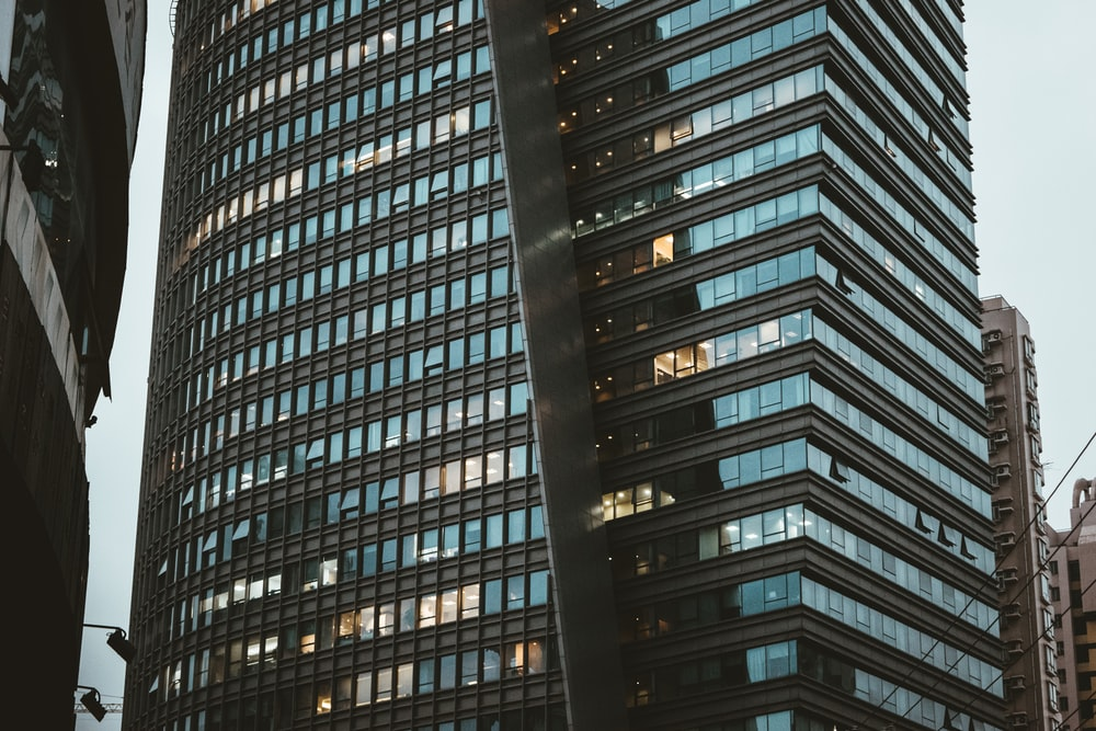 black metal frame glass building