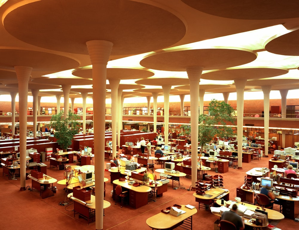 Work area at the Johnson Wax Building, headquarters of the S.C. Johnson and Son Co