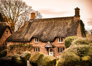 Cotswold cottage, front door, shaped hedges, garden gate, thatched roof, stone, tree, old