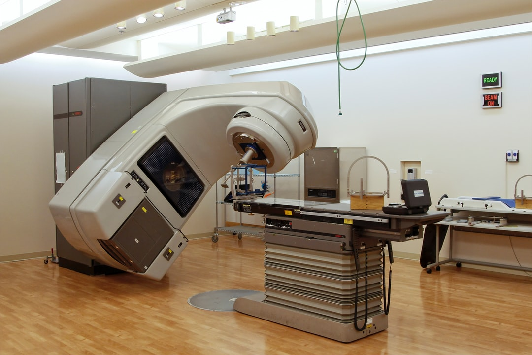 A linear accelerator (LINAC) is set up to deliver stereotactic radiosurgery.