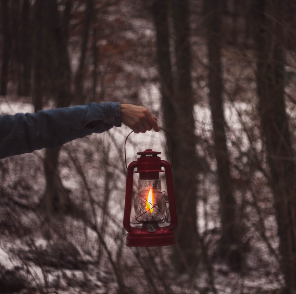 person holding red and black lantern