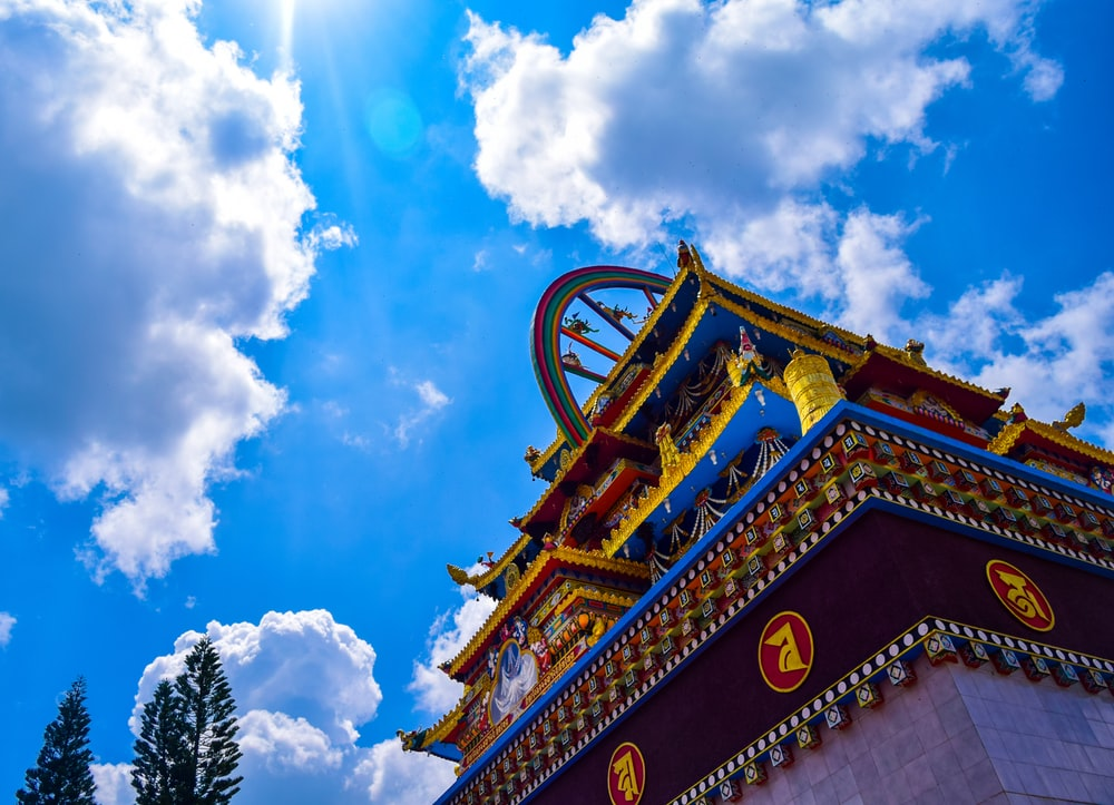 green and brown temple under blue sky during daytime