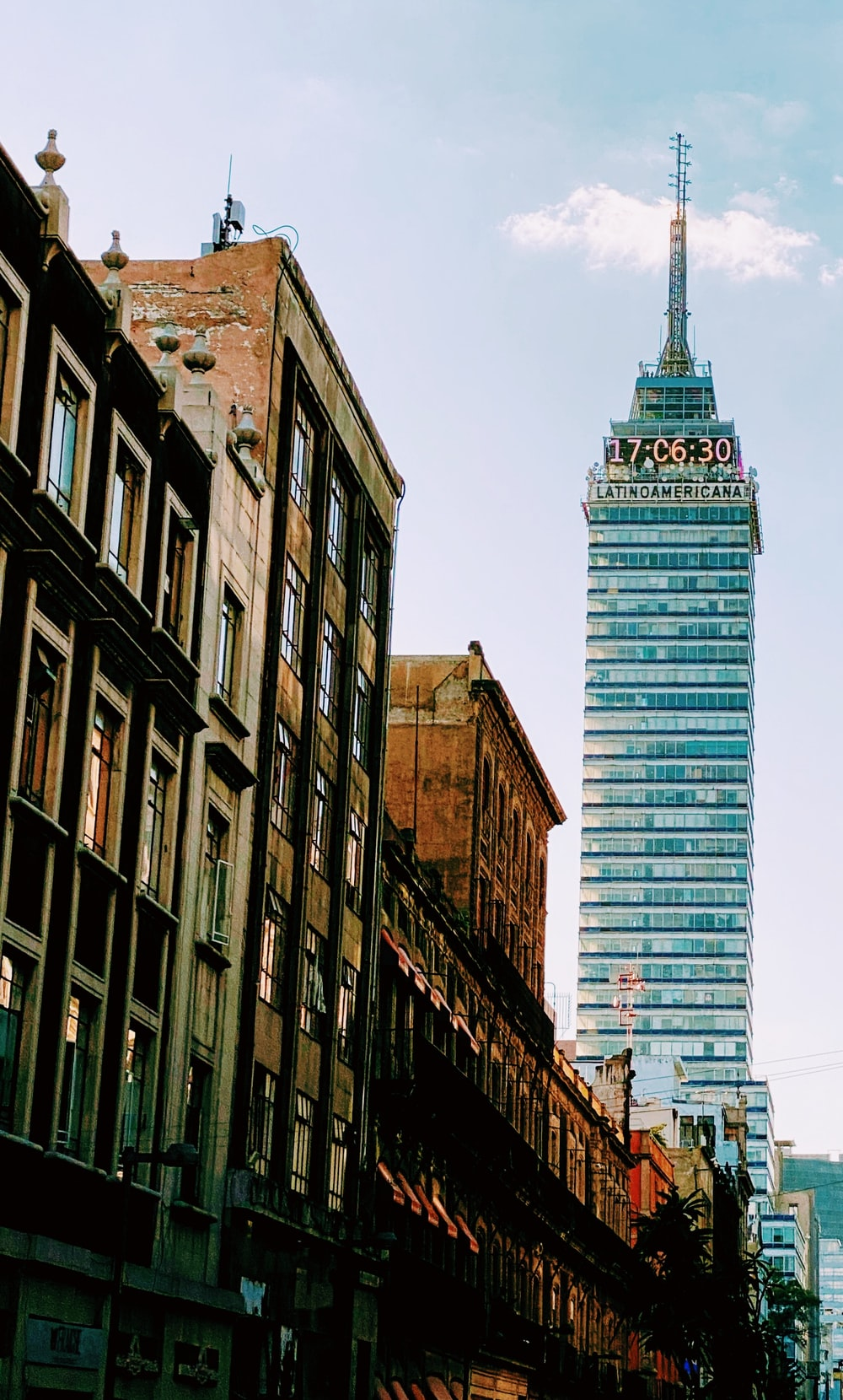 green and white tower building