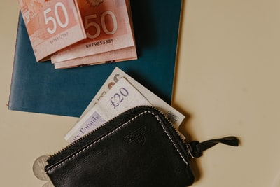 10 and 10 euro on black leather wallet