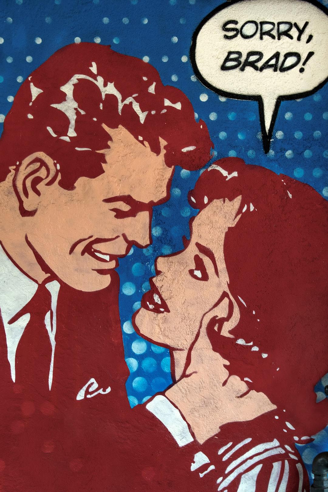 "Mural of lovers, ""Sorry, Brad!"""