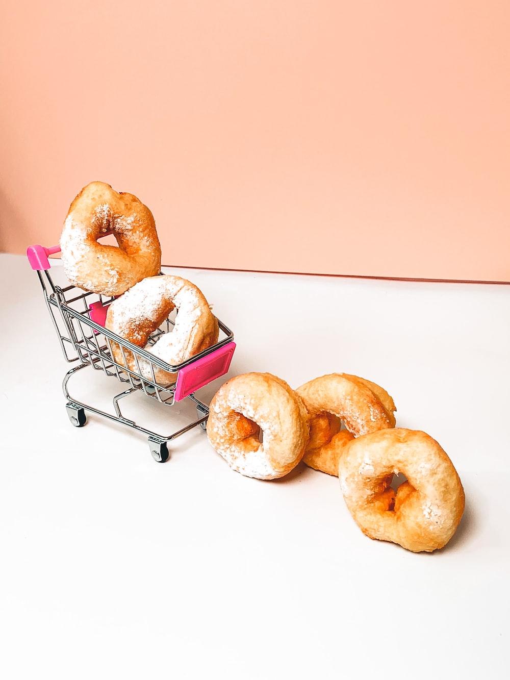 brown donuts on stainless steel rack