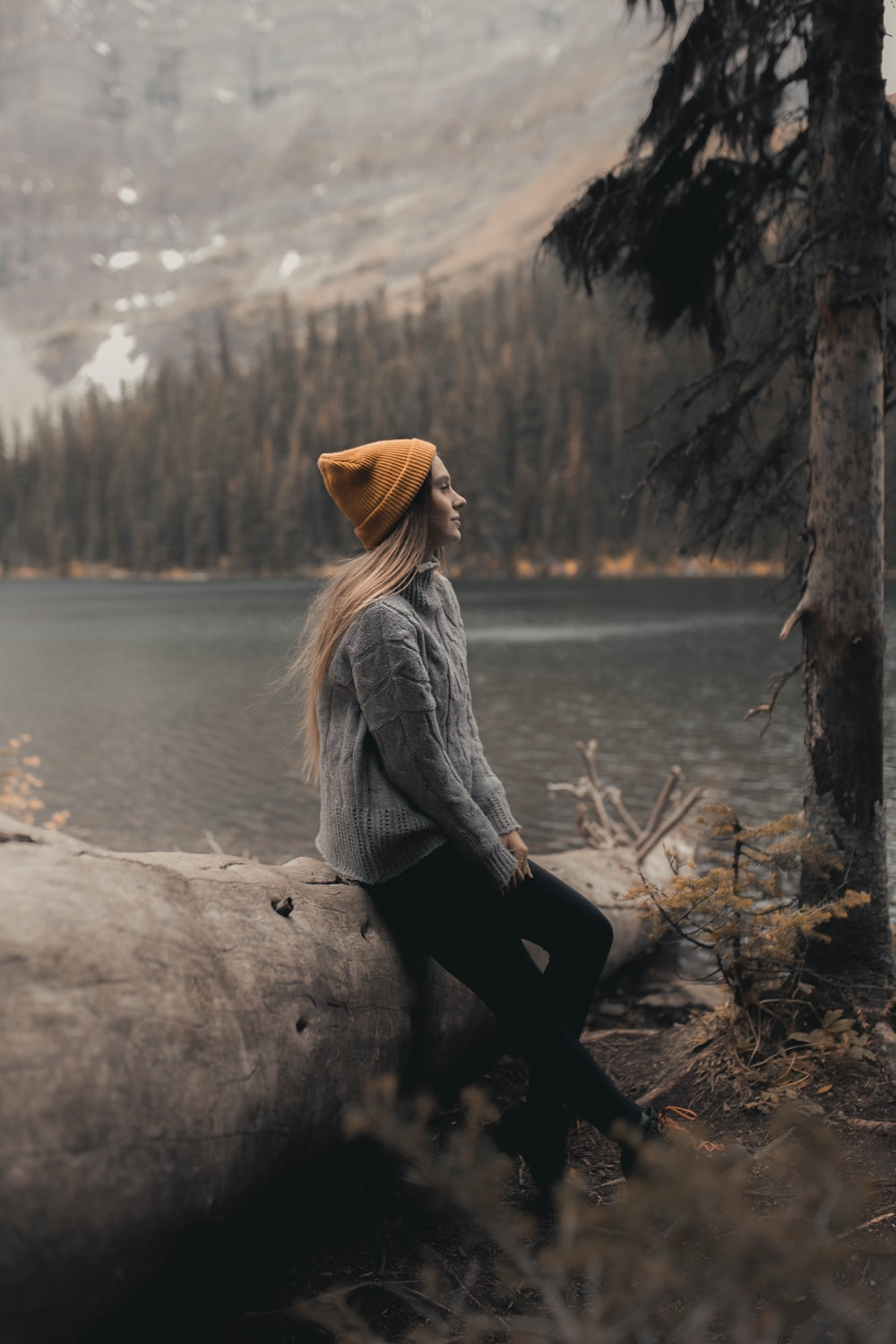 woman in gray sweater and black pants sitting on brown log near body of water during
