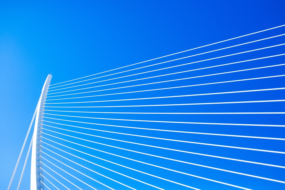 white and blue line on blue sky