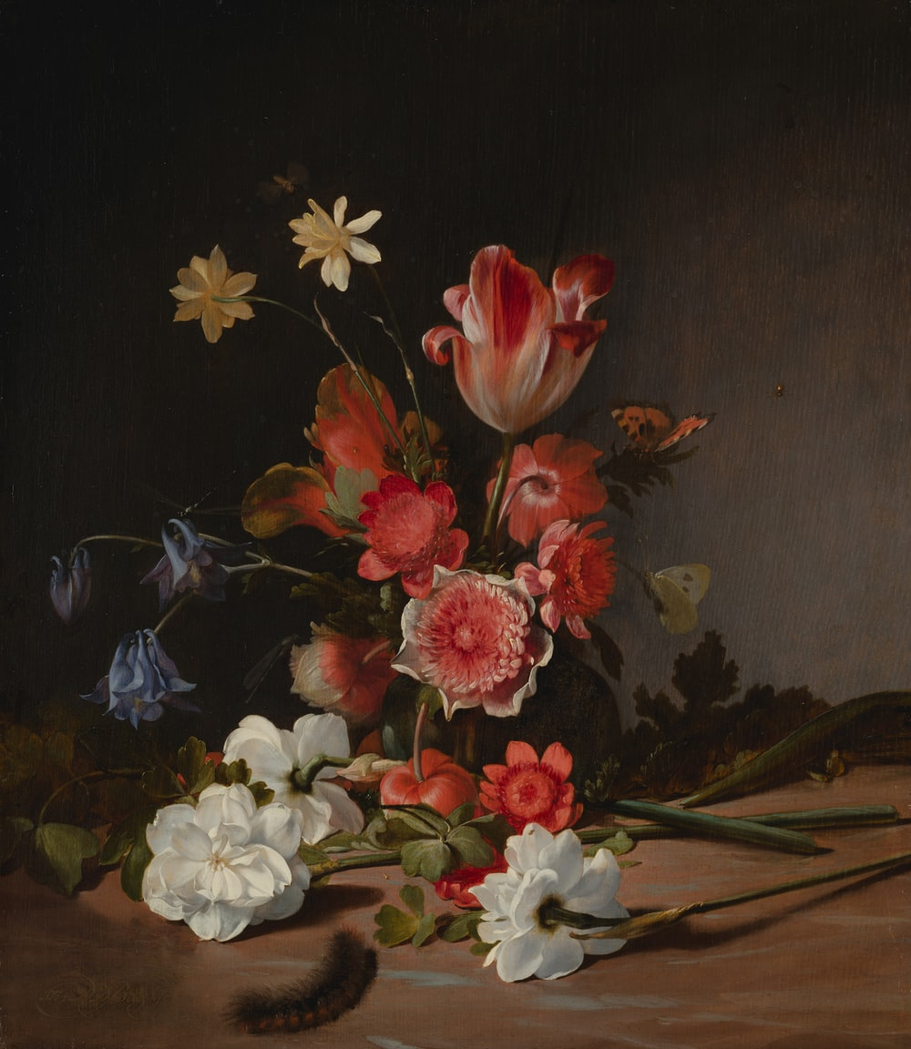 red and white flowers painting