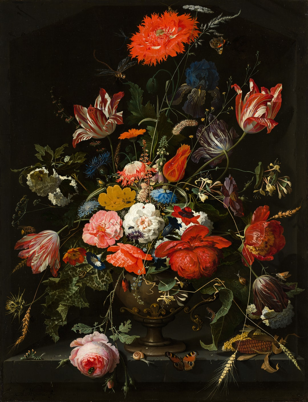 Flowers in a Metal Vase.