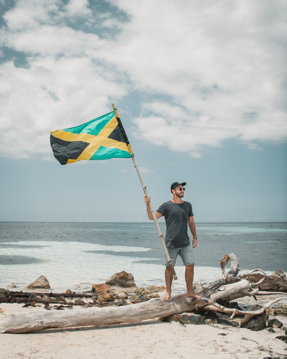 man in blue t-shirt holding flag standing on brown rock near body of water during