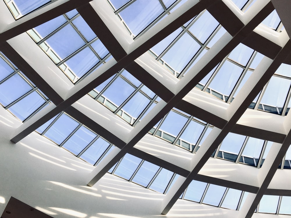 white and blue glass ceiling