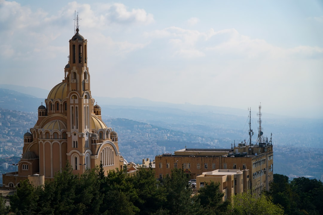Saint Paul Basilica, Harissa, Lebanon, with coastal Beirut in the background, as seen from Notre Dame du Liban (Our Lady of Lebanon) (بازيليك سيدة لبنان)