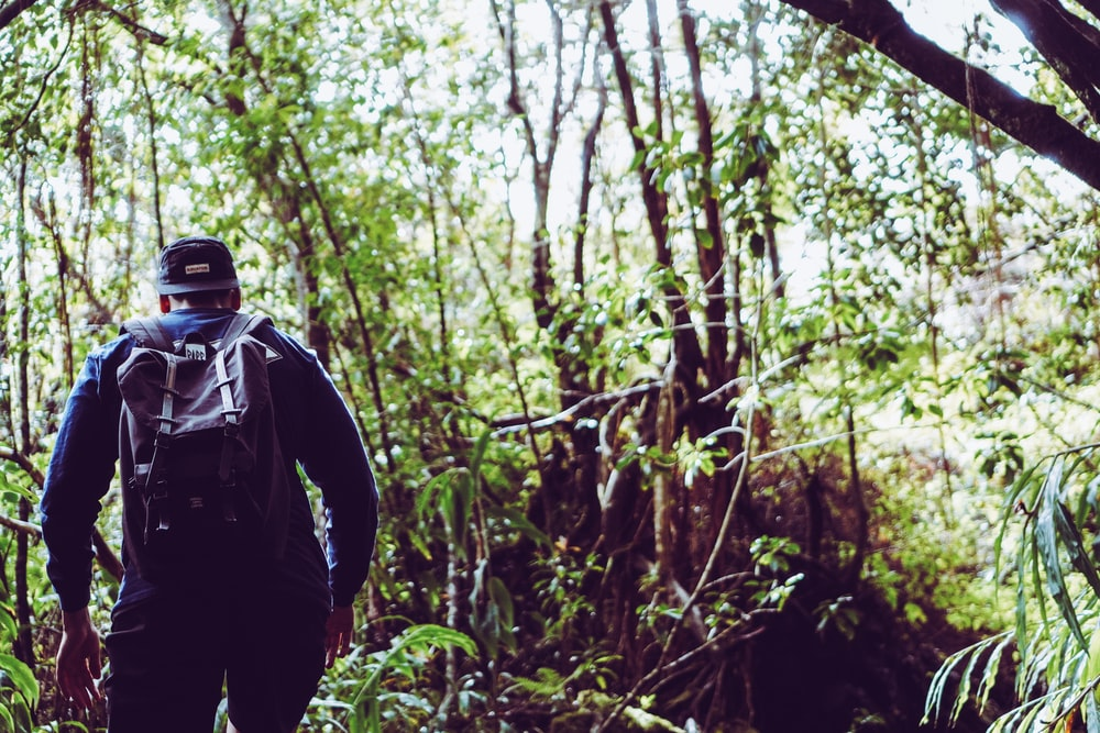 man in black jacket and black backpack standing in forest during daytime