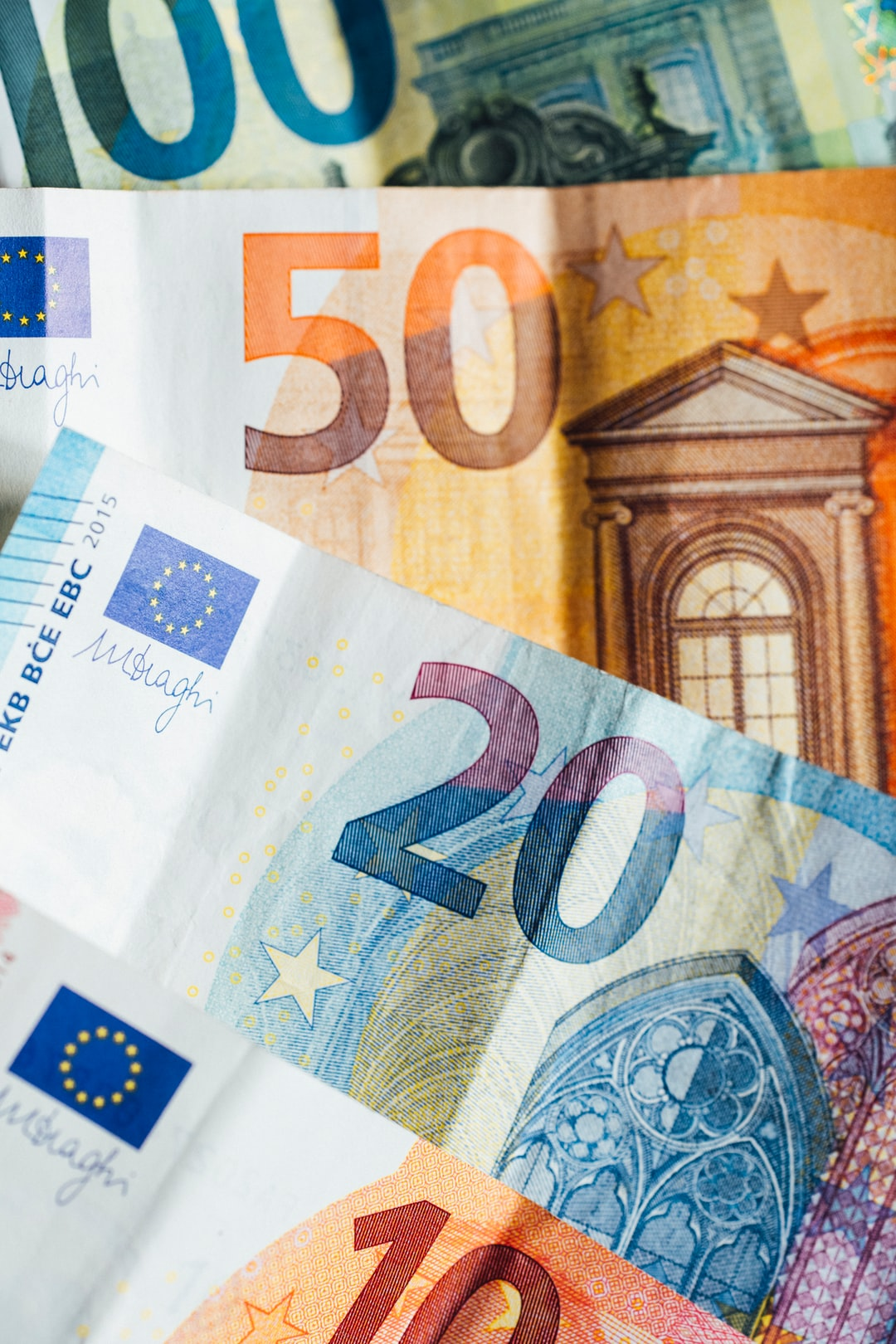 A lot of cash EURO banknote money... € 10,- € 20,- and € 50,-. Made with Canon 5d Mark III and analog vintage lens, Leica APO Macro Elmarit-R 2.8 100mm (Year: 1993)