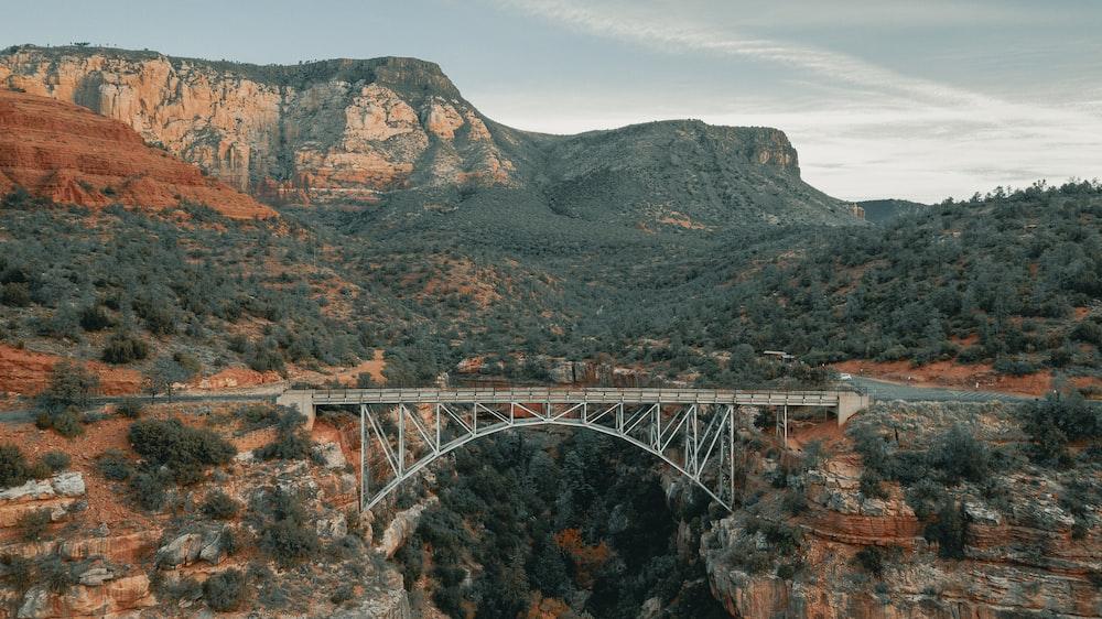 gray metal bridge over the mountain