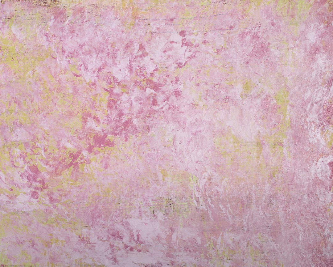 Abstract acrylic paint painting with warm colors and tones of pinks, white, ivory, orange and yellow. Nice background or wallpaper image of original artwork and mixed media techniques.