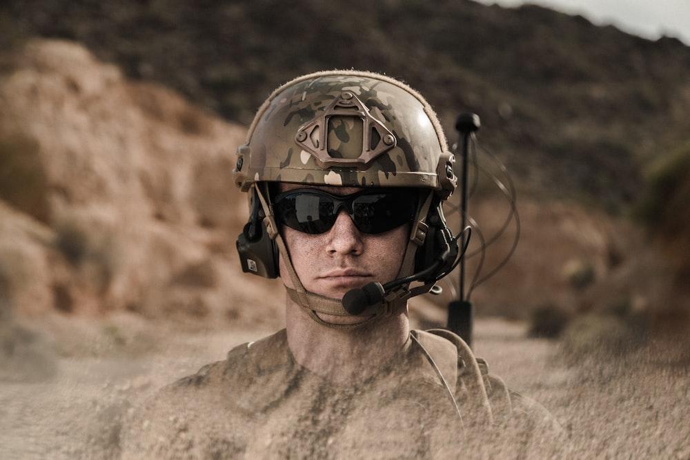 man in brown helmet and brown jacket